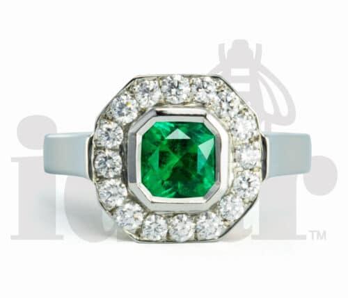 Idar Jewellers, diamonds, gold handcrafted jewellery, Emerald Halo Ring with Arabesque Gallery, Victoria, BC, Vancouver, Calgary, Edmonton, Ottawa, Toronto, Montreal, Canada