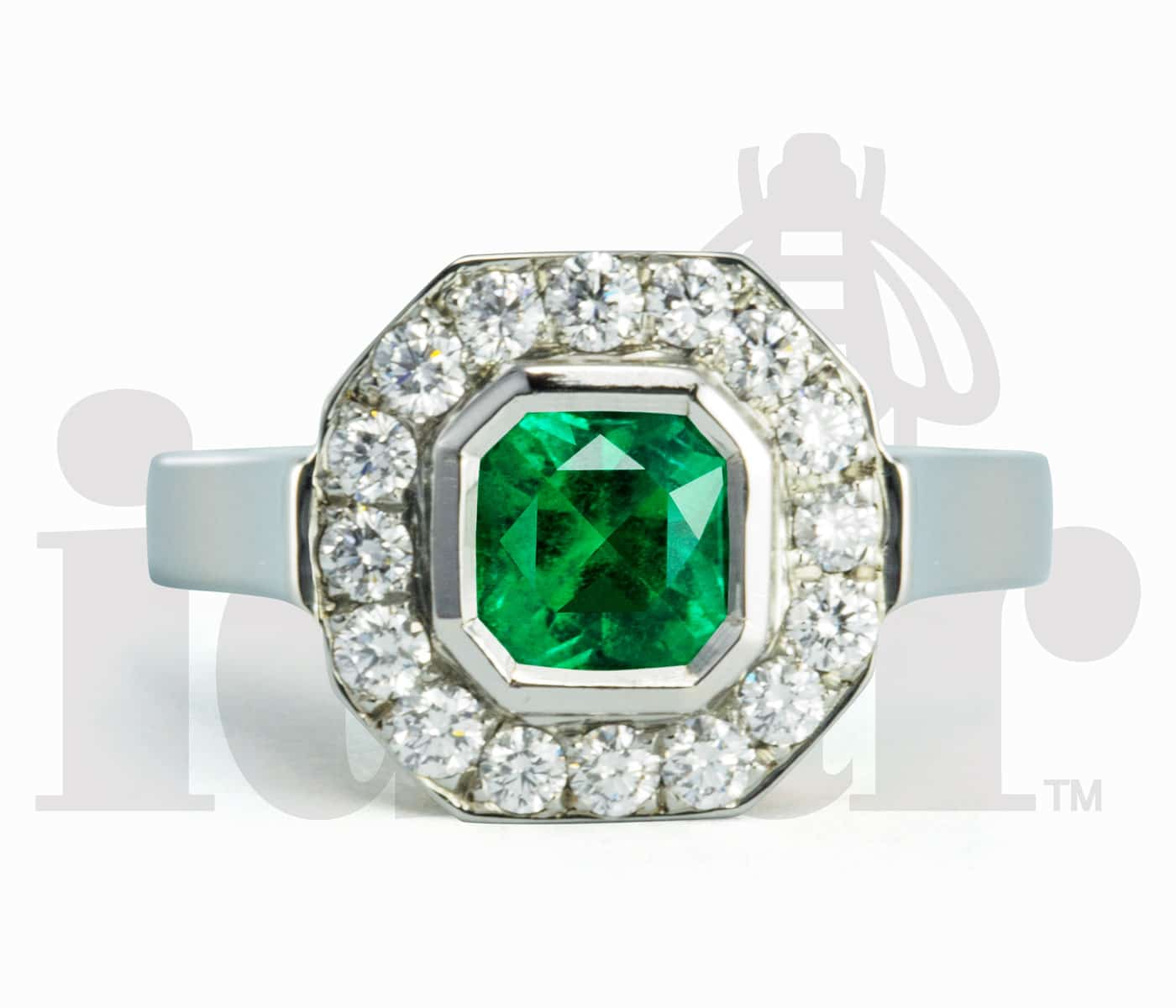 Idar Jewellers, diamonds, gold handcrafted jewellery, Emerald Halo Ring with Arabesque Gallery, Victoria, BC, Vancouver, Calgary, Edmonton, Ottawa, Toronto, Montreal, Canada