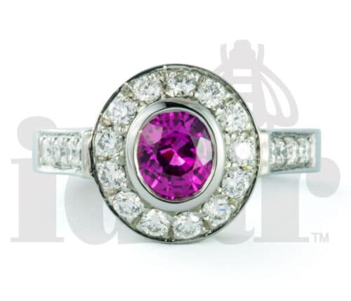 Idar Jewellers, diamonds, gold handcrafted jewellery, Pink Sapphire Halo Ring with Arabesque Gallery, Victoria, BC, Vancouver, Calgary, Edmonton, Ottawa, Toronto, Montreal, Canada