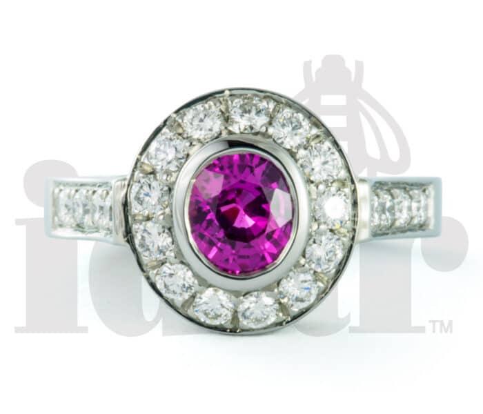 Idar Jewellers, diamonds, gold handcrafted jewellery, Pink Sapphire Halo Ring with Arabesque Gallery, Victoria, BC, Vancouver, Calgary, Edmonton, Ottawa, Toronto, Montreal, Canada