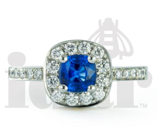 Idar Jewellers, diamonds, gold handcrafted jewellery, Blue Sapphire Halo Ring with Arabesque Gallery, Victoria, BC, Vancouver, Calgary, Edmonton, Ottawa, Toronto, Montreal, Canada